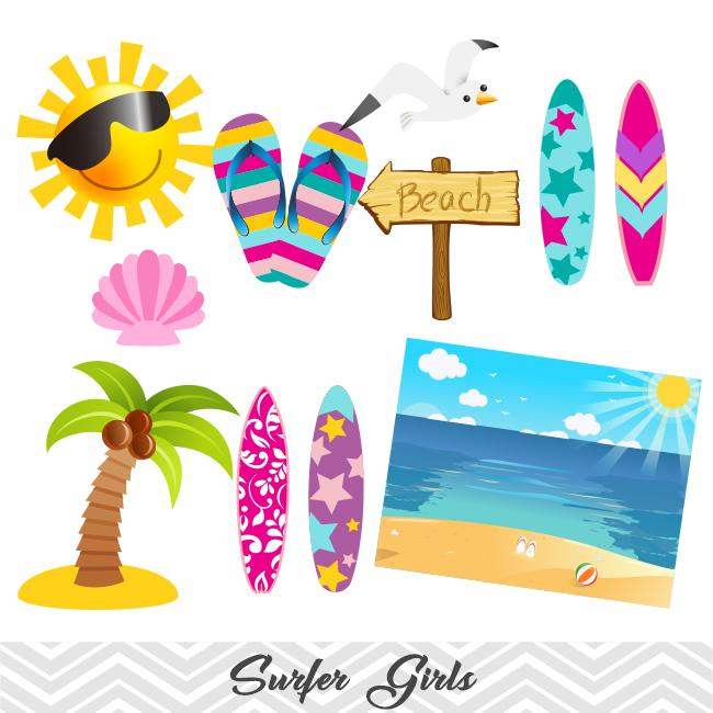 Summer surfing clipart banner library Girls Surfing Digital Clip Art, Surfer Girls Clipart – Tracy ... banner library