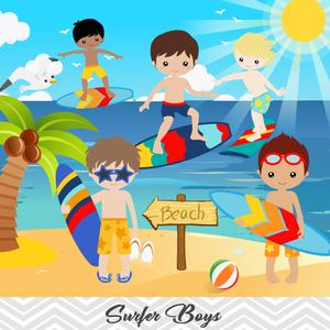 Summer surfing clipart clip free download Boys Surfing Digital Clip Art, Surfer Boys Clipart – Tracy ... clip free download