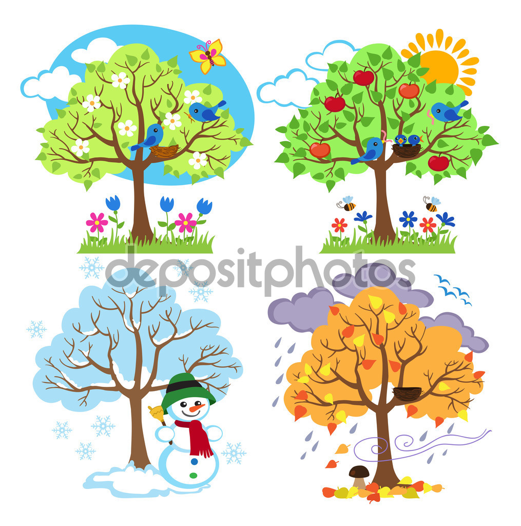 Summer vs winter clipart vector transparent Four Seasons Trees Clipart and Vector with Spring, Summer, Fall ... vector transparent