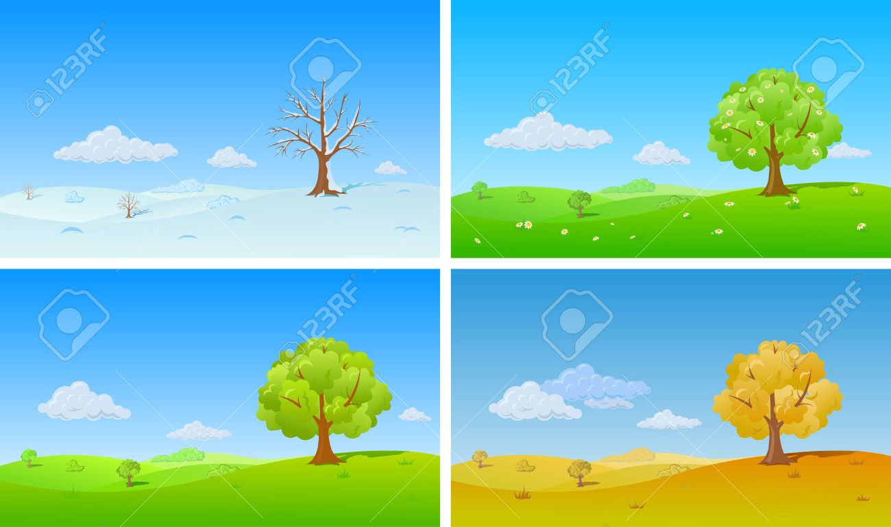 Summer vs winter clipart jpg library 8,527 The Four Seasons Stock Illustrations, Cliparts And Royalty ... jpg library