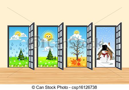 Summer vs winter clipart picture black and white library Vectors of Spring Summer Autumn Winter four doors in corridor ... picture black and white library