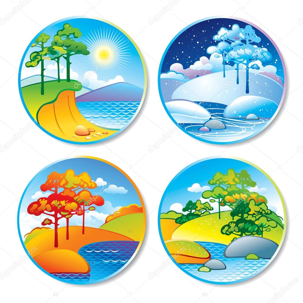 Summer vs winter clipart clip freeuse Spring, summer, autumn and winter landscape in a circle — Stock ... clip freeuse