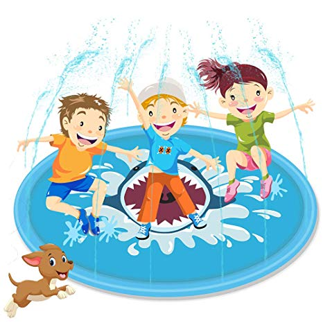 Summer water play clipart banner black and white stock Splash Pad 67 in, Sprinkler Play Mat Perfect Inflatable Water Toys Backyard  Outdoor Summer Fun for Kids Children Boys and Girls banner black and white stock