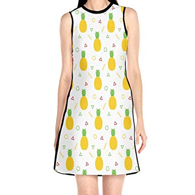 Summerdress clipart clipart black and white ADA&KGH Women\'s Pineapple Clipart Pattern Sleeveless O-Neck ... clipart black and white