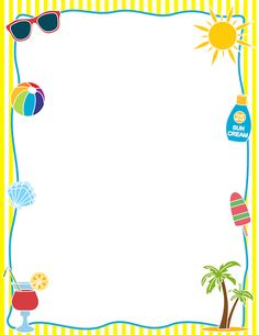 Summertime clipart borders vector library stock Summertime Border Clipart - Clip Art Library vector library stock