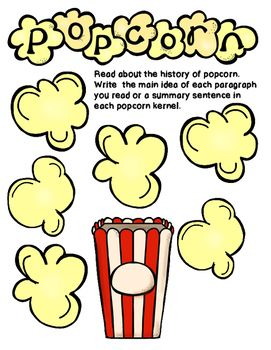 Summmarization clipart clip transparent library Main Idea and Summarizing Popcorn Graphic Organizer | 7th ... clip transparent library