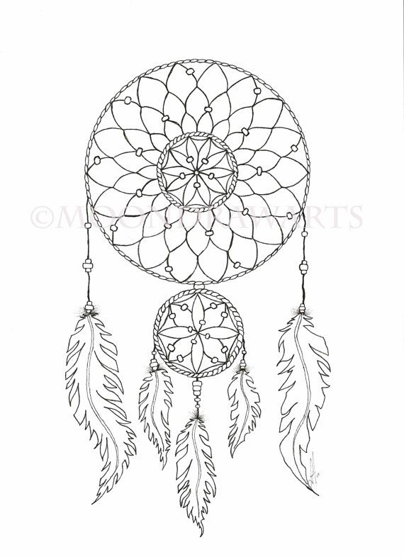 Sun and dream catcher clipart black and white svg free download Dream Catcher Printable Coloring Page Adult by MoonDrawArts ... svg free download
