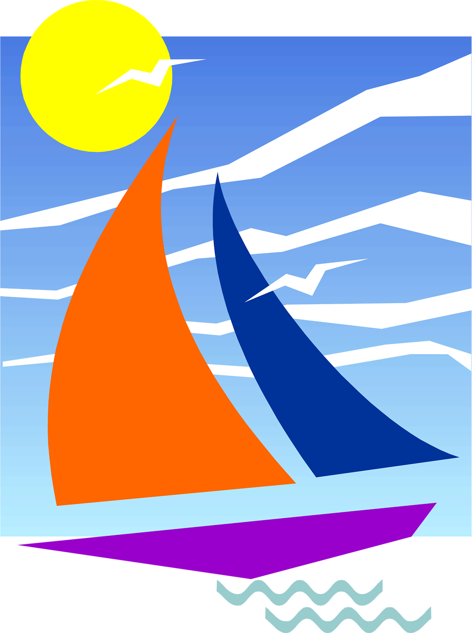 Sun looking over ocean clipart graphic free download Sailboat | Free Stock Photo | Illustration of a sailboat under the ... graphic free download
