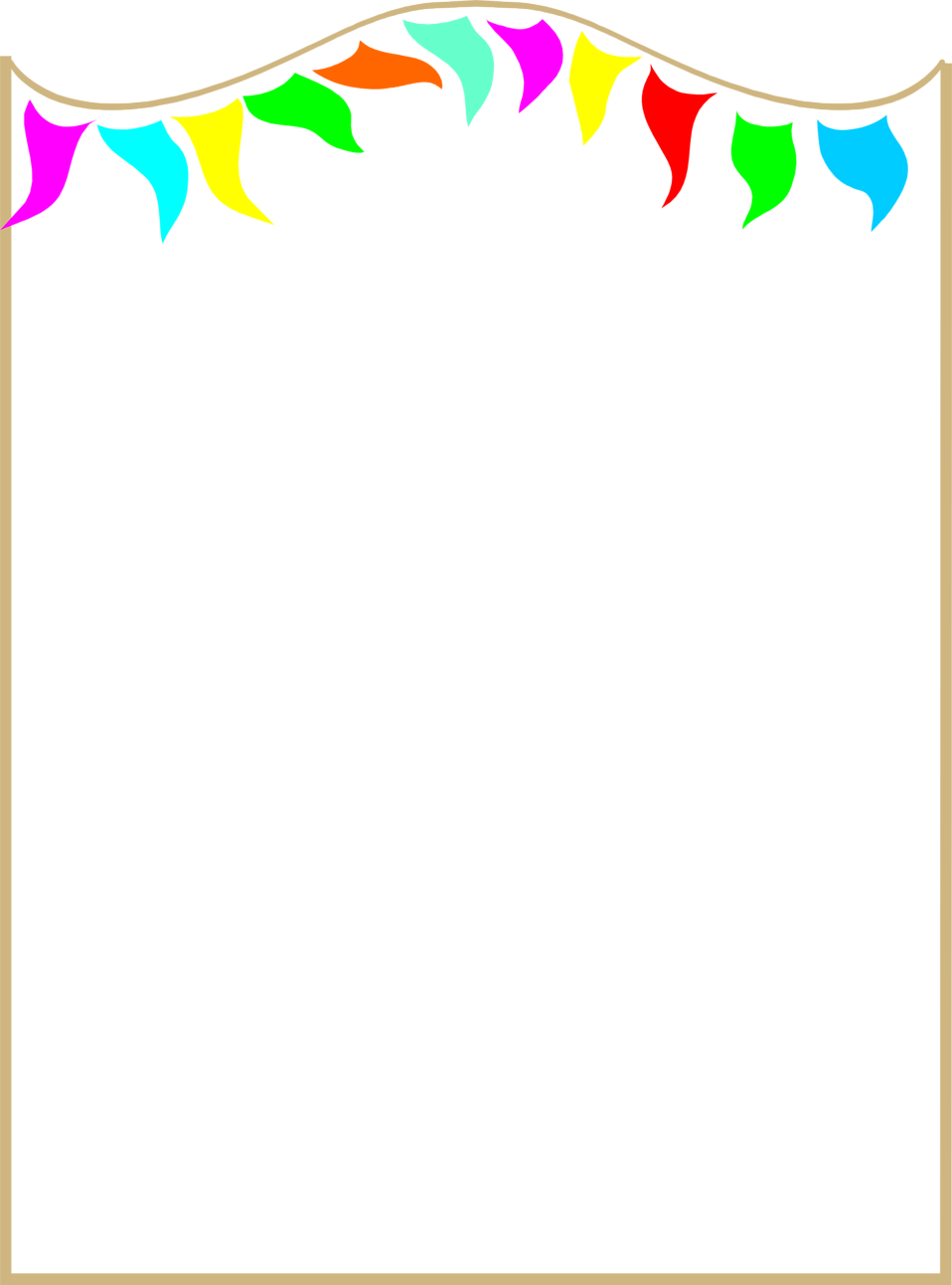 Sun and rainbowborder clipart clip library download Illustration of a blank frame border with colorful pennants : Free ... clip library download