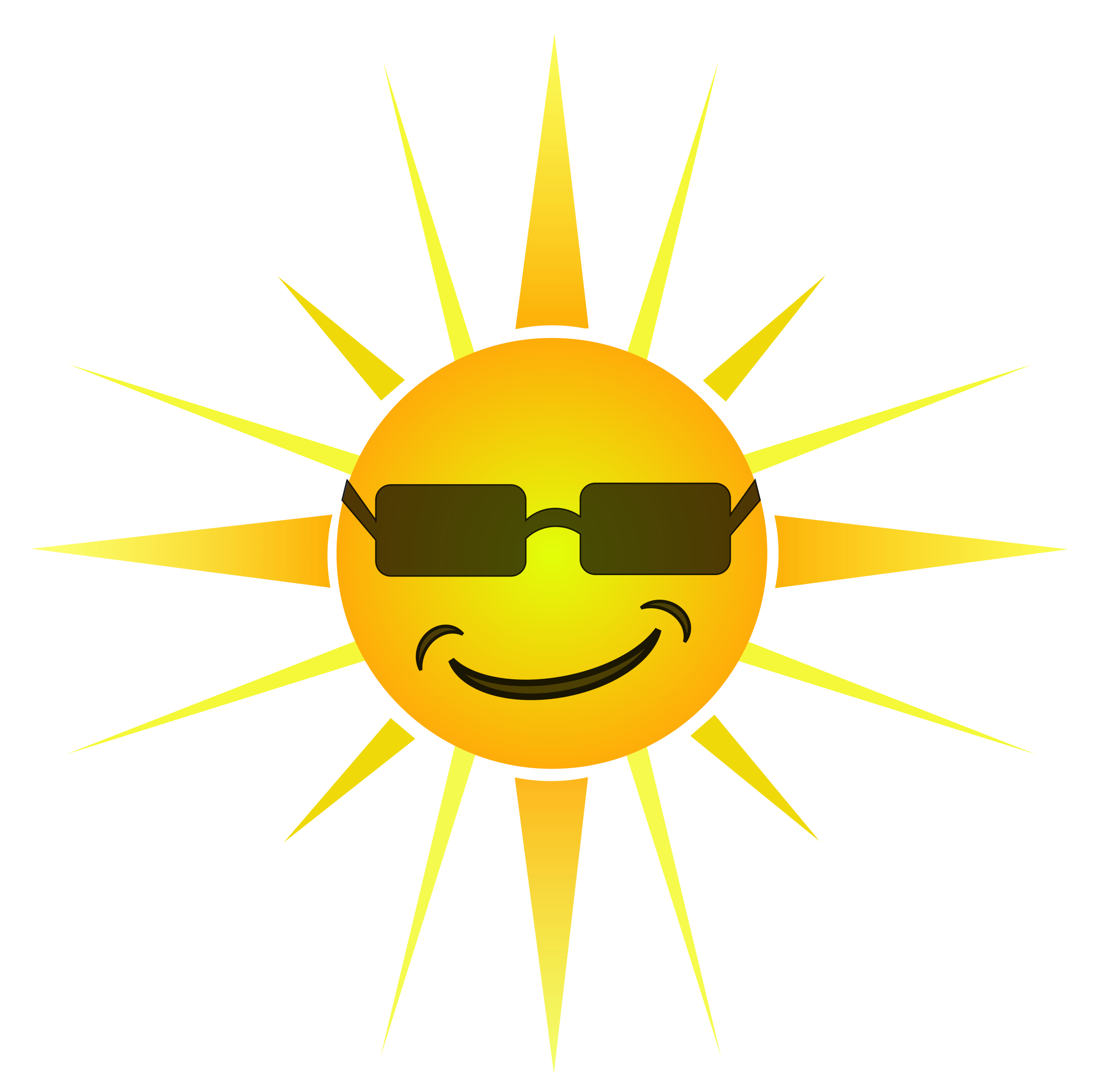 Sun and sunglasses clipart clipart black and white stock Clipart - Cool Happy Sun clipart black and white stock