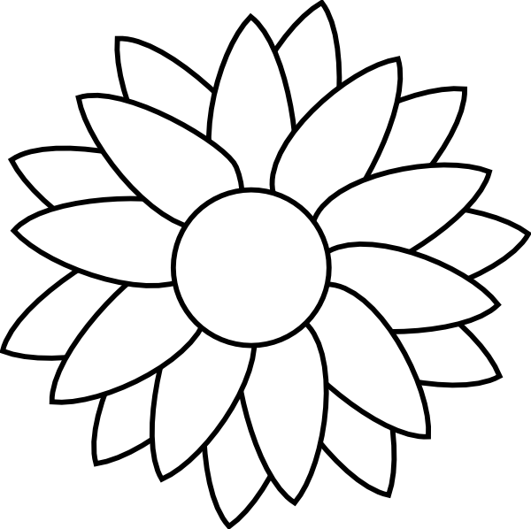 Sun flowers clipart black and white banner freeuse library Sun Flower Template Clip Art at Clker.com - vector clip art online ... banner freeuse library