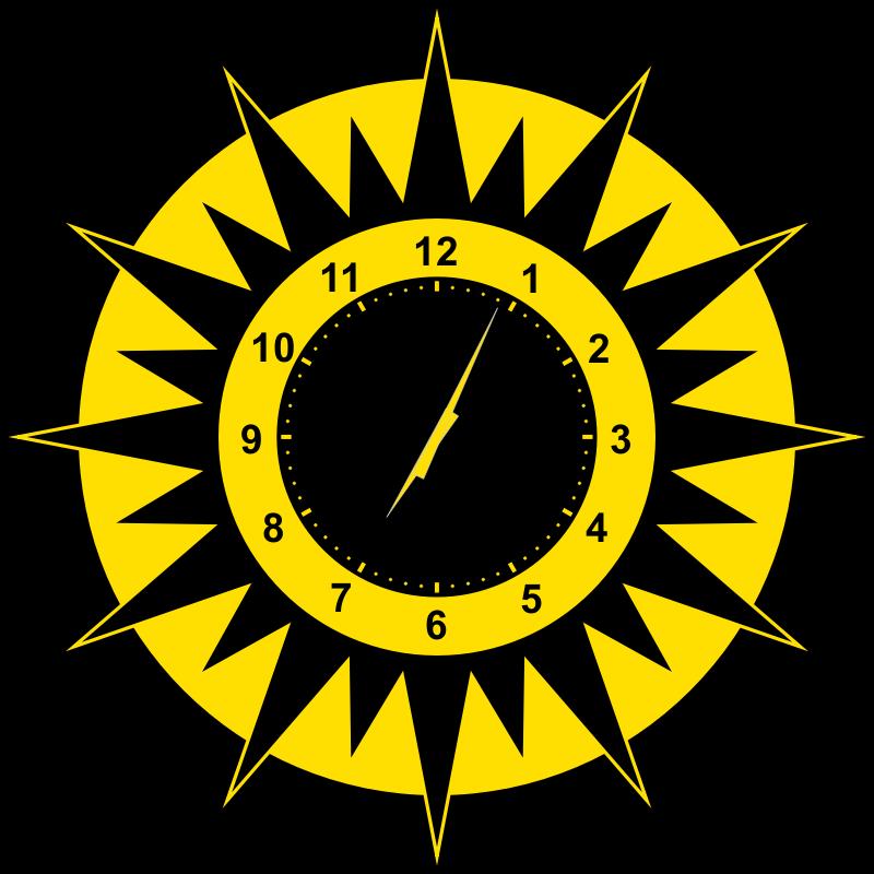 Sun clock clipart clip black and white download Clipart - Scripted Abstract Sun Clock clip black and white download
