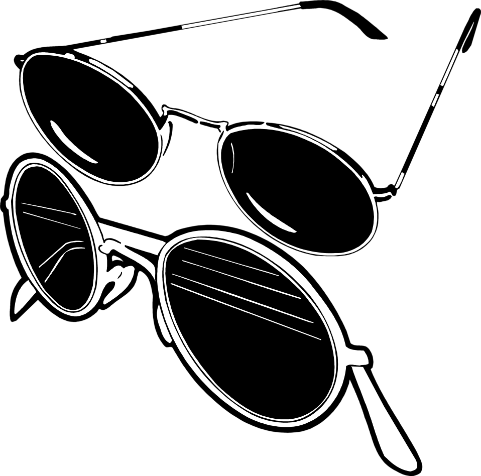 Sun glasses clipart black and white vector royalty free library Sunglasses | Free Stock Photo | Illustration of two pair of ... vector royalty free library