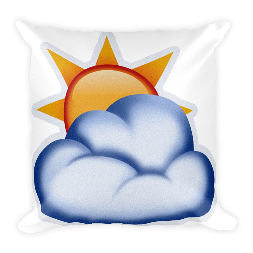Sun in front of clouds clipart clip art transparent download Emoji Pillow - Sun Behind Cloud – Just Emoji clip art transparent download