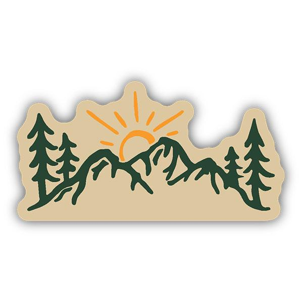 Sun over mountain clipart banner free Sun Over Mountains Sticker banner free