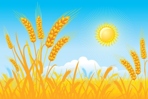 Sun rays field clipart png free Countryside landscape background cereal field sun icons Free ... png free
