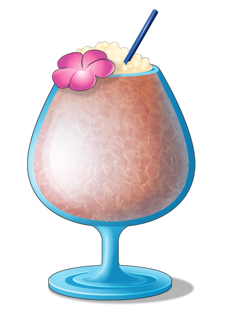 Sun relaxing with cocktail clipart black and white stock Modern Age (Post-1960's) - Forbidden Island Tiki Lounge black and white stock