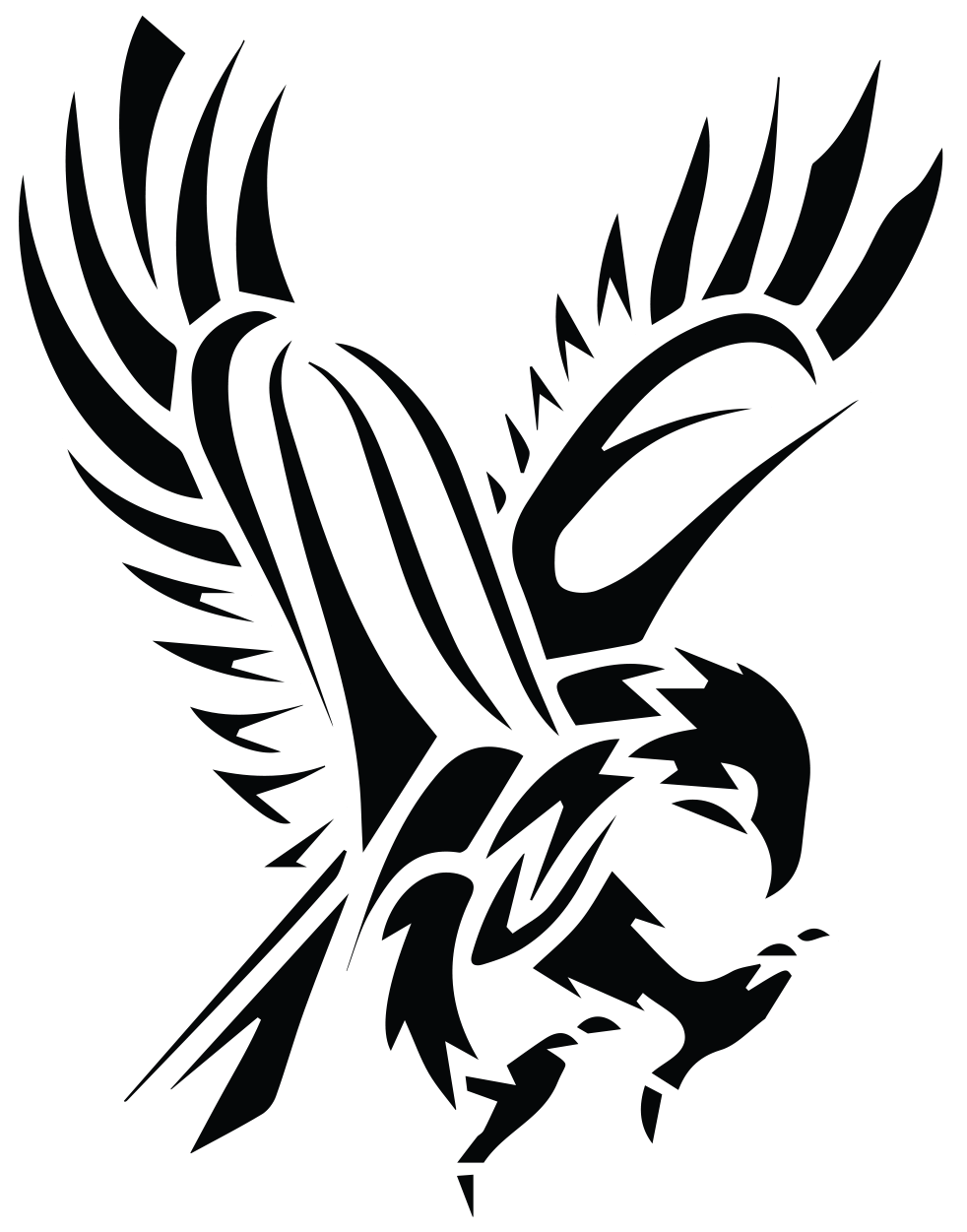Sun tattoo clipart graphic free library Black Tribal Flying Hawk Tattoo Stencil … | Tattoo s… graphic free library