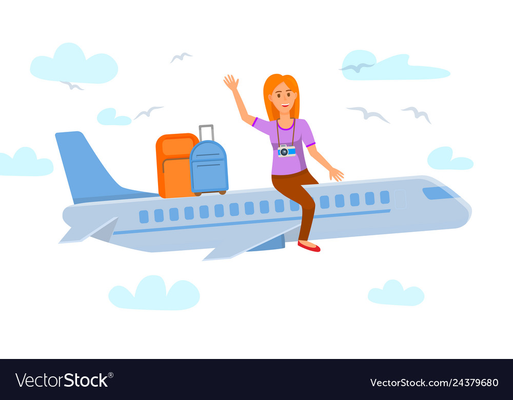 Sunbird aviation clipart clipart black and white download Young woman sitting on airplane flat vector image clipart black and white download