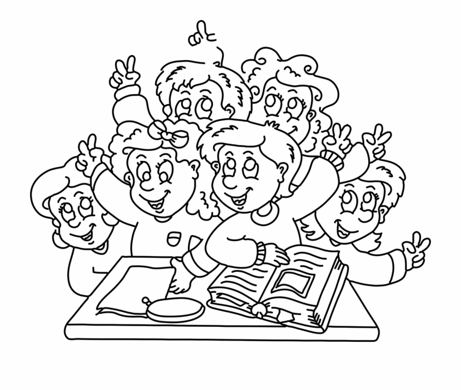 Sunday school closing program clipart black and white svg royalty free Happy Children In School Cartoon Black And White ... svg royalty free
