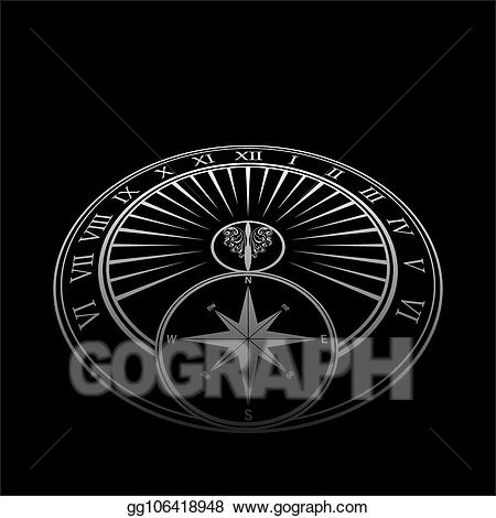 Sundial clipart black and white image free library Vector Stock - Sundial perspective black background. Stock ... image free library