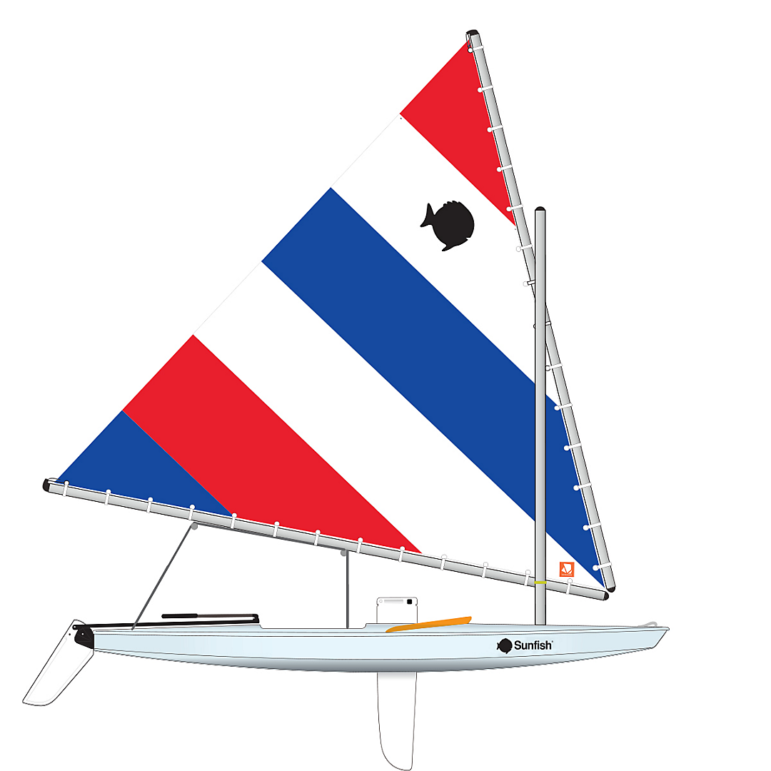 Sunfish sailboat clipart clip royalty free Sunfish, Ice Blue, Orange Coaming clip royalty free