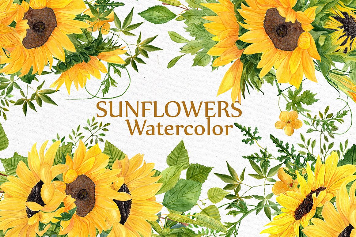 Sunflower clipart for wedding png black and white library Sunflower clipart Watercolor Wreath png black and white library