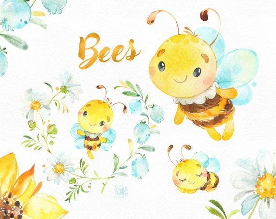 Sunflower and bumble bee clipart clipart transparent library Bees. Little animals watercolor clipart, wreath, flowers ... clipart transparent library