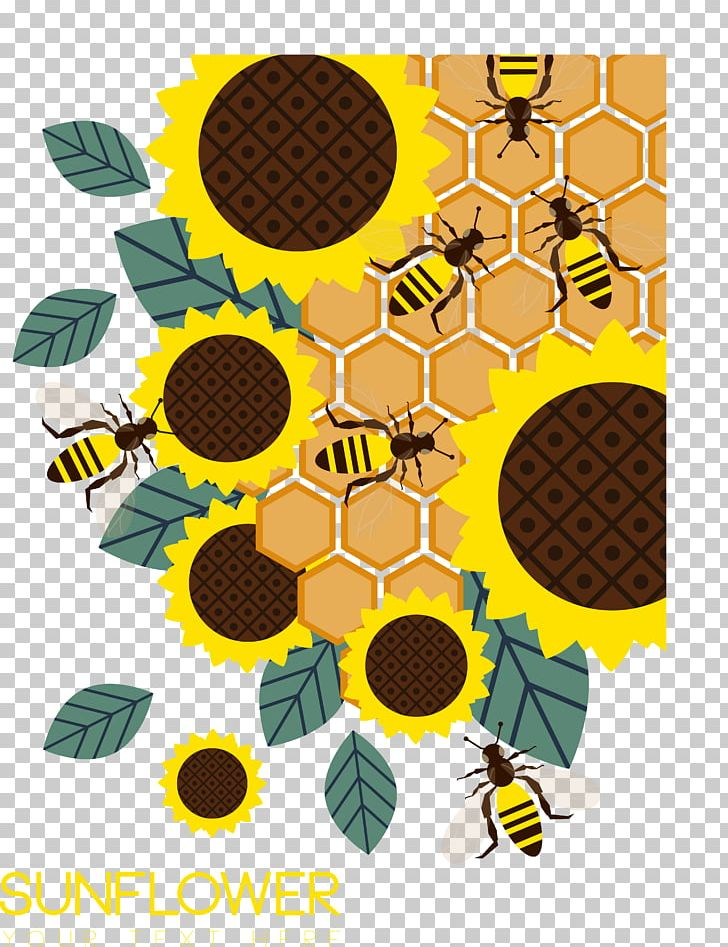 Sunflower and bumble bee clipart picture royalty free library Honey Bee Honeycomb Common Sunflower PNG, Clipart, Bee, Bee ... picture royalty free library