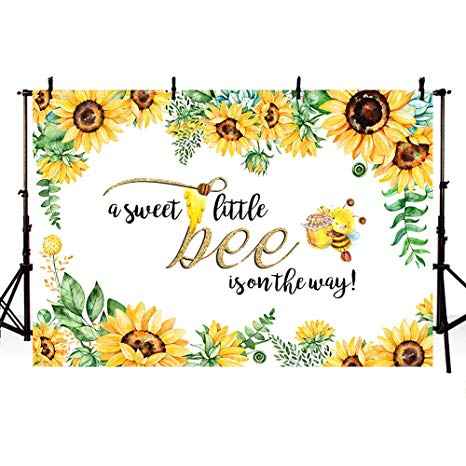 Sunflower and bumble bee clipart vector freeuse library MEHOFOTO 7x5ft Sweet Little Bee Princess Girl Baby Shower Party Decorations  Backdrop Yellow Bee-Day Honey Sunflower Photography Background Photo ... vector freeuse library