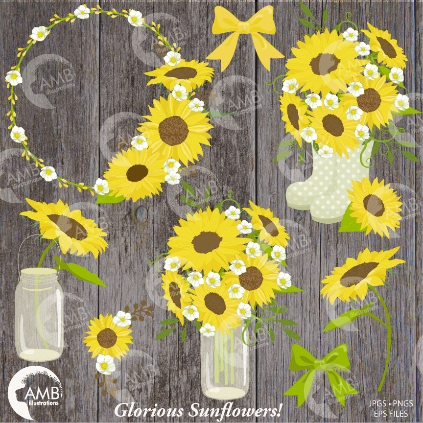 Sunflower clipart for wedding svg library stock Sunflower clipart, Wedding clipart, shabby chic, sunflowers ... svg library stock