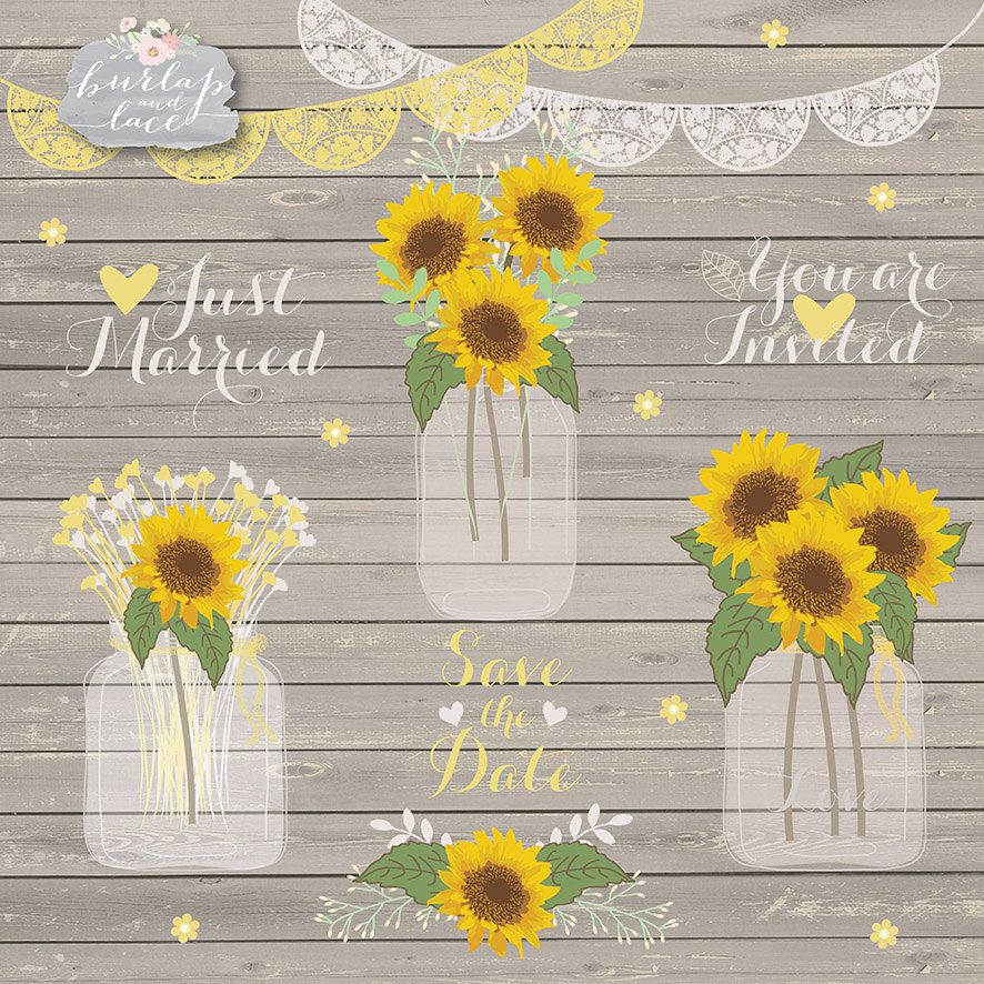 Sunflower clipart for wedding jpg royalty free download Pin by Lori Ann\'s Vintage at Etsy on Clipart | Sunflower ... jpg royalty free download