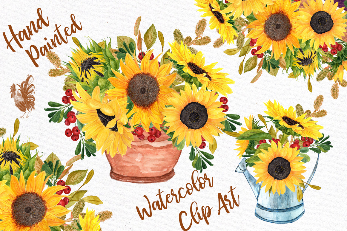 Sunflower clipart for wedding jpg library stock Watercolor clipart SUNFLOWER CLIPART Wedding invitations Wedding clipart  Floral Bouquets Yellow Flowers jpg library stock