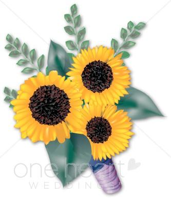 Sunflower clipart for wedding jpg freeuse stock Three Sunflowers Clipart | Flower Bouquet Clipart jpg freeuse stock