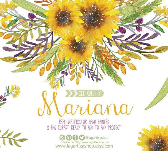 Sunflower clipart for wedding banner stock Watercolor Sunflower Clipart, Floral Frame PNG, Wedding ... banner stock