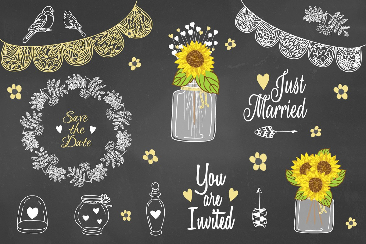 Sunflower clipart for wedding clip free download Sunflower Mason jar Rustic Clipart clip free download