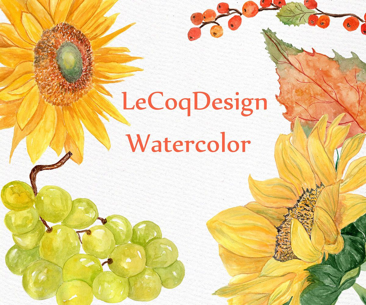 Sunflower fall clipart watercolor svg library stock Autumn watercolor clipart: \