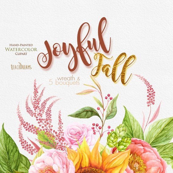 Sunflower fall clipart watercolor png library download Watercolor Sunflower, Peonies, Roses, Fall clipart, Autumn ... png library download