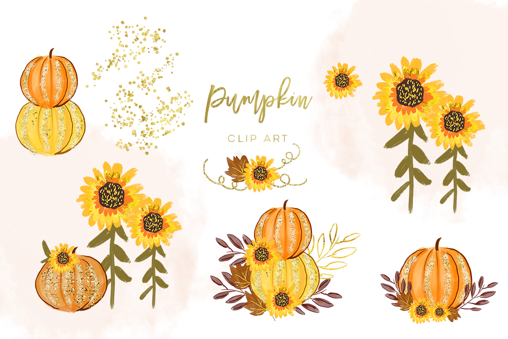 Sunflower fall clipart watercolor black and white stock Pumpkin orange watercolor, Separate element black and white stock