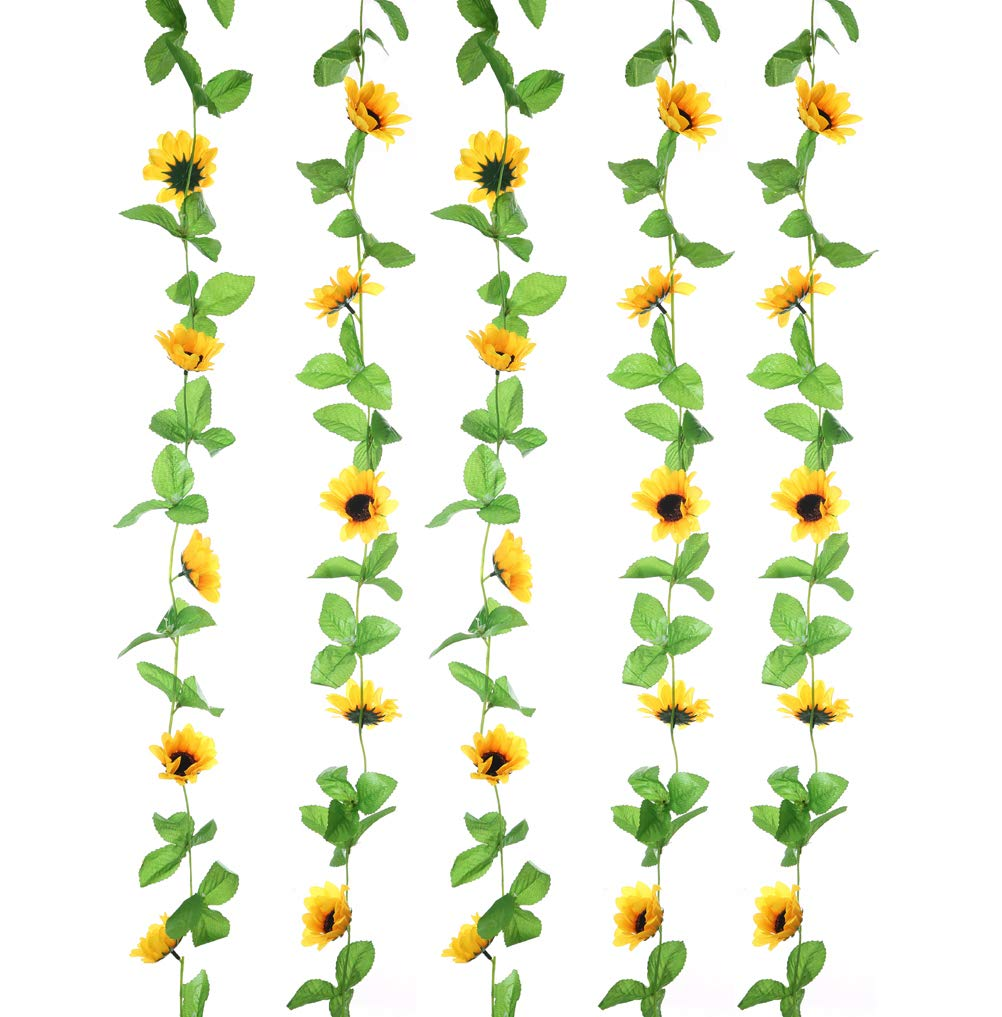 Sunflower garland clipart image download UUPP 2Pcs 8.5FT Artificial Sunflower Garland Silk Fake Flower Ivy Vines for  Home Hotel Office Garden Wedding Party Outside Decoration image download