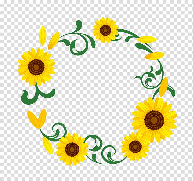 Sunflower garland clipart png stock Yellow sunflower flower illustration, Common sunflower ... png stock