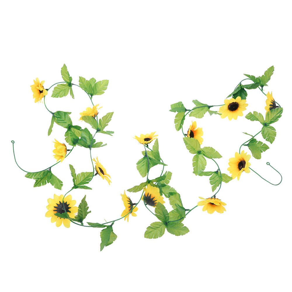 Sunflower garland clipart vector library download 2.5M Ivy Artificial Garland Sunflower Hanging Garland Artificial Flowers  Leaves Fake Green Leaves Plants for Wedding Home Decor vector library download
