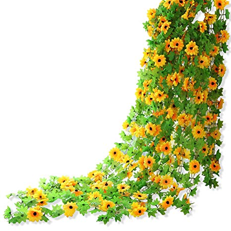 Sunflower garland clipart banner transparent stock Yatim 8ft Sunflower Garland Pack of 2 Foliage Simulation Silk Flowers For  Home Room Hotel Office Garden Wedding Garland Outside Decoration banner transparent stock