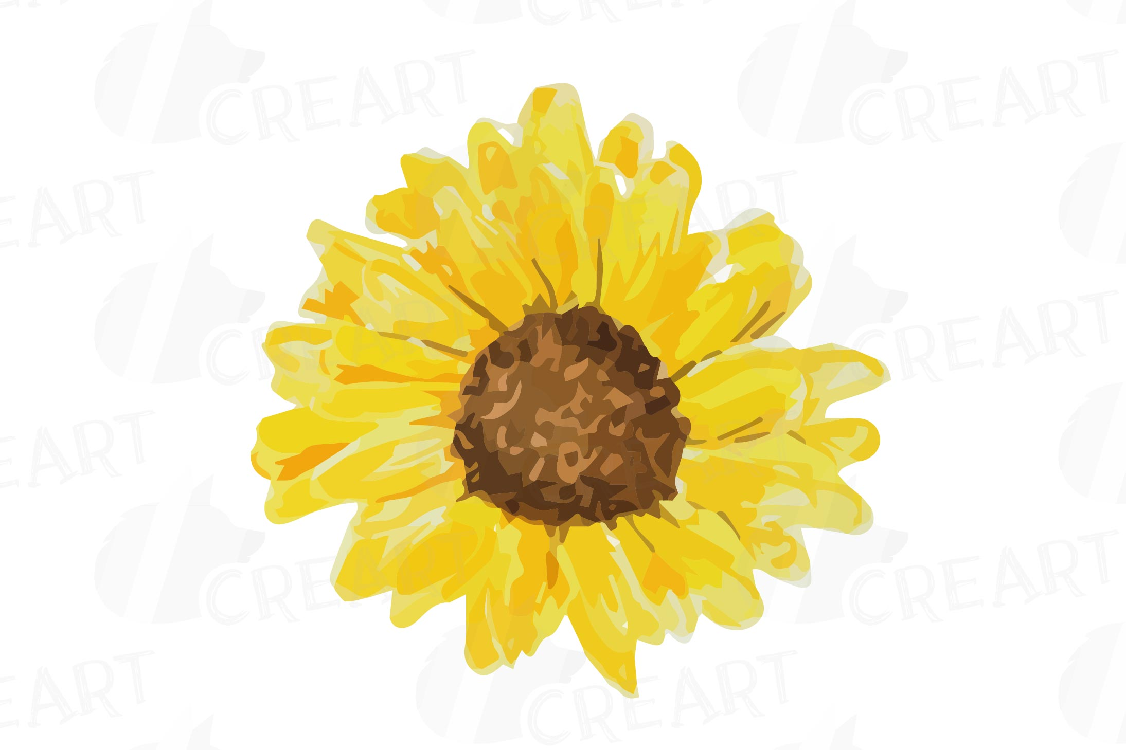 Sunflower watercolor clipart png black and white download Sunflowers watercolor clip art pack 2, watercolor sunflower png black and white download