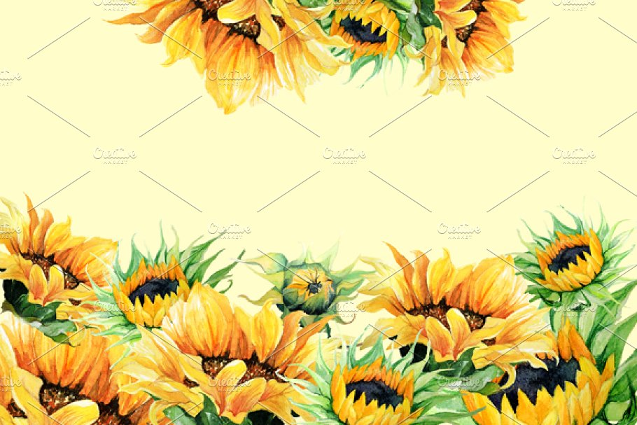 Sunflower watercolor clipart download Watercolor Clipart - Sunflowers download