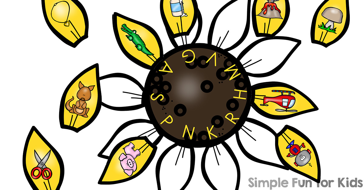Sunflower with 10 petals clipart counting petals jpg download Sunflower Petal Beginning Sound Matching Puzzle Printable ... jpg download
