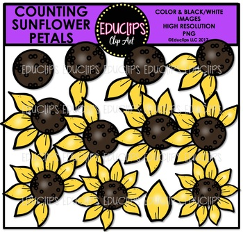 Sunflower with 10 petals clipart counting petals clip free download Counting Sunflower Petals Clip Art Bundle {Educlips Clipart} clip free download