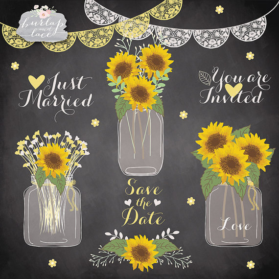 Sunflowers and wedding bells clipart image Sun flowers clipart, Wedding mason jar clipart, flower ... image