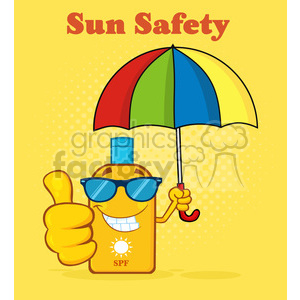 Sunglasses and sunscreen clipart clip art royalty free smiling bottle sunscreen cartoon mascot character with sunglasses and  umbrela giving a thumbs up vector illustration halftone background and text  sun ... clip art royalty free