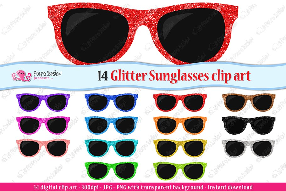 Sunglasses graphic clipart jpg library download Colorful Glitter Sunglasses clipart jpg library download